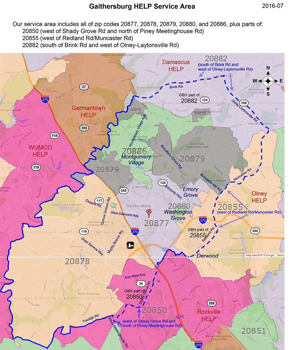 Gaithersburg HELP Service Areas Map